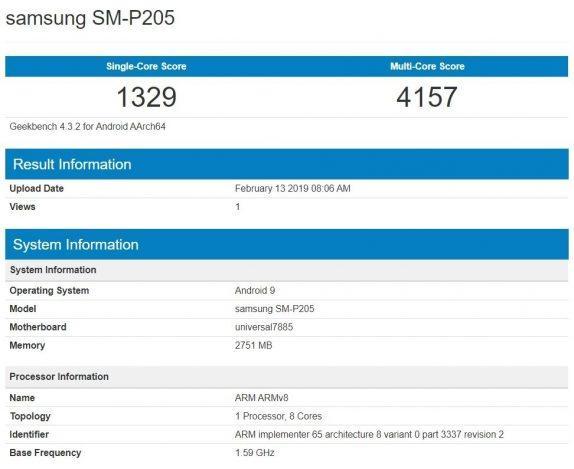 Новый планшет Samsung с номером модели SM-P205 появился на Geekbench