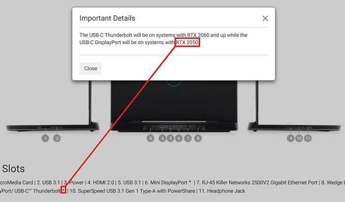 В списке игровых ноутбуков Dell текст GPU «RTX 2050» удален