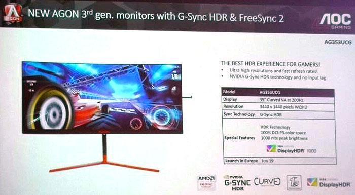 AOC Agon 35-дюймовый изогнутый HDR 200 Гц игровой монитор