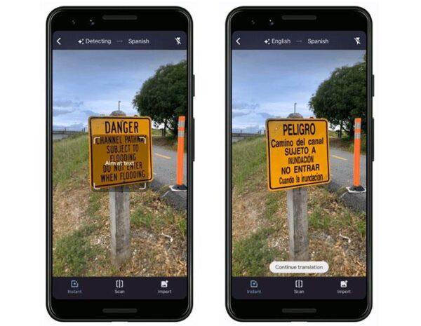 Режим камеры приложения Google Translate автоматически определяет языки