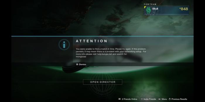 Stadia Destiny 2 Ошибка при поиске
