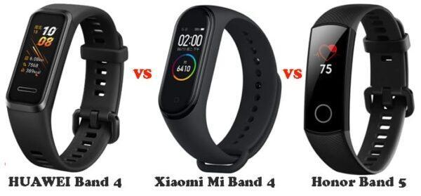 Huawei Band 4 против Honor Band 5 против Xiaomi Mi Band 4, характеристики и сравнение