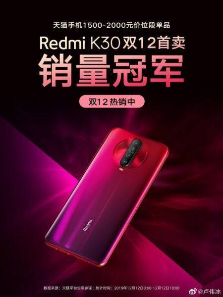 Redmi K30 выигрывает гонку продаж среди смартфонов до 20 000 рублей