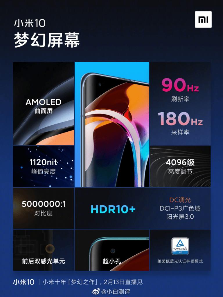 Xiaomi Mi 10: спецификации дисплея официально объявлены