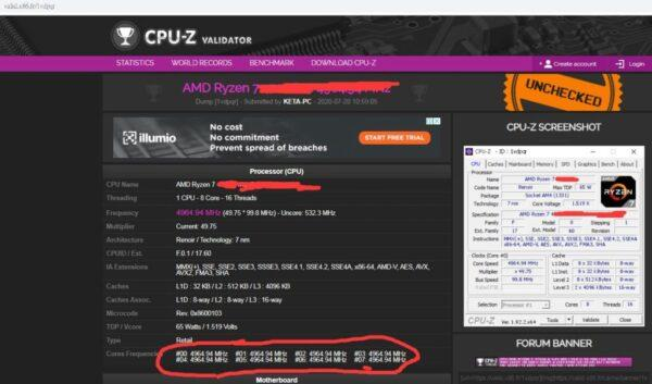 AMD Ryzen 7 4700G разогнан до 5 ГГц по всем ядрам без LN2