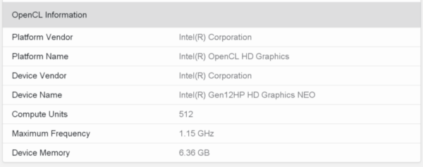 Графический процессор HP Intel Xe Gen12 с 4096 шейдерами и 6 ГБ видеопамяти обнаружен на Geekbench