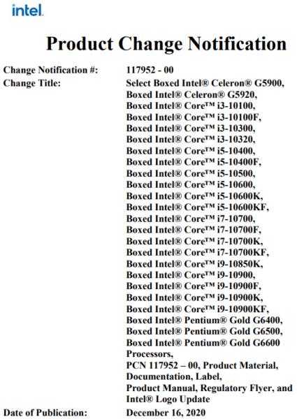 Intel объявляет о прекращении выпуска линейки 10-го поколения, включая  10900K, 10700K и 10600K