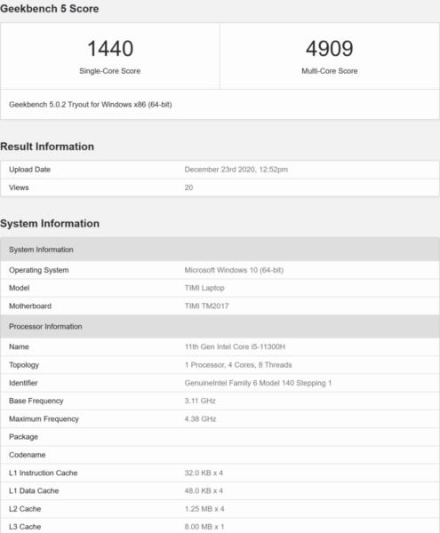 Intel Tiger Lake-H Core i5 быстрее, чем AMD Ryzen 5 5600H в ST Perf, медленнее в MT