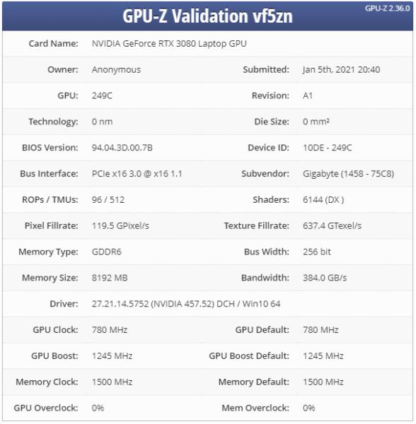 В сеть попала утечка характеристик ноутбука и видеокарты NVIDIA RTX 3080 Max-Q